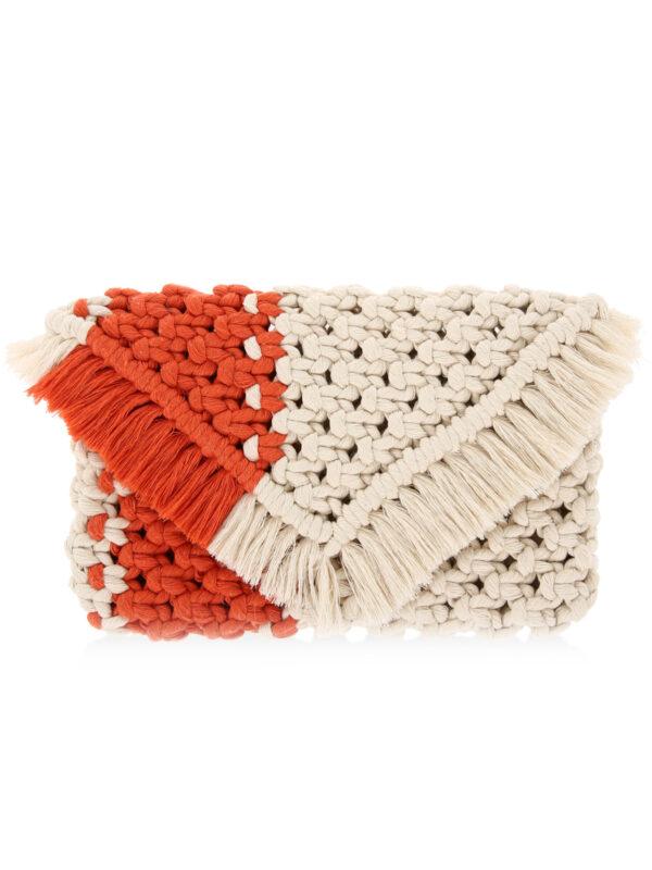 el yapımı turuncu makrome clutch el çantası