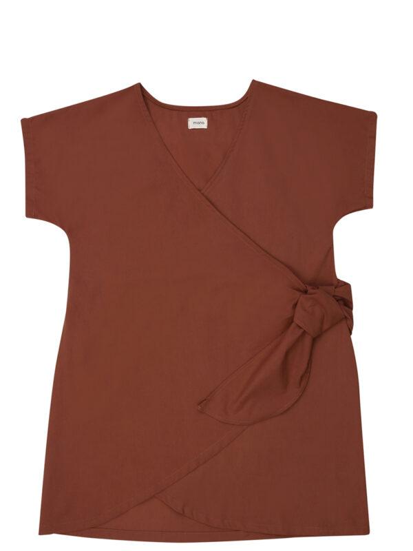 El yapımı önden bağlama detaylı kırmızı elbise
